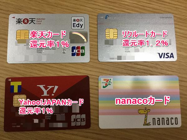 nanacoチャージでポイントが貯まるオススメクレジットカード