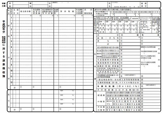 源泉徴収票 平成30年 pdf ダウンロード