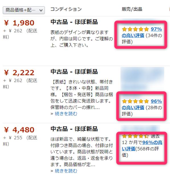 Amazon出品者評価