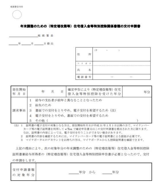 年末調整のための(特定増改築等)住宅借入金等特別控除関係書類の交付申請書
